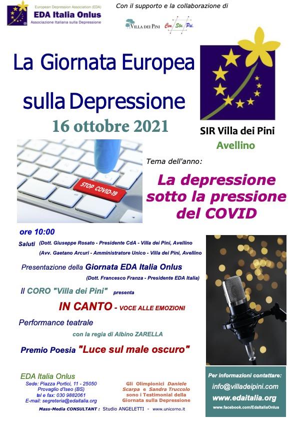 """Il 16 ottobre, ad Avellino la """"Giornata Europea sulla Depressione"""" fa il punto sulla """"Depressione sotto la pressione del Covid"""""""